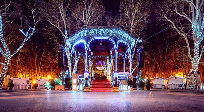Zrinjevac park at night during Christmas in Zagreb