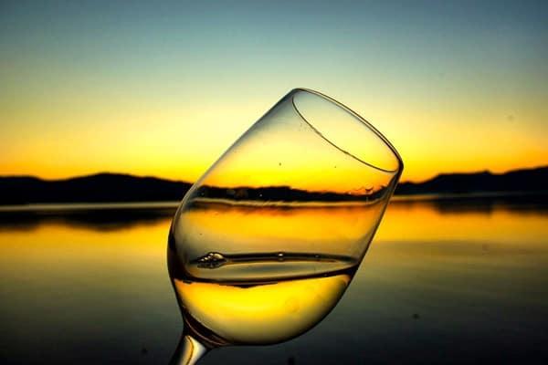Croatia Sunset: Sunset in a glass of wine