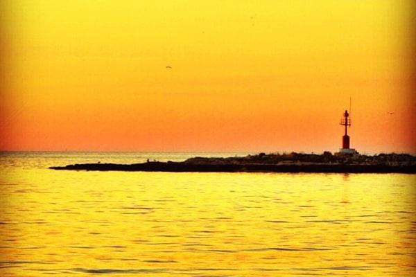 Croatia: sunset: Porec lighthouse at sunset