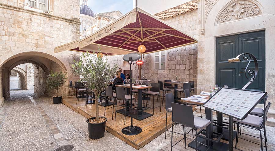 Outside Terrace At The Oyster and Sushi Bar Bota Dubrovnik
