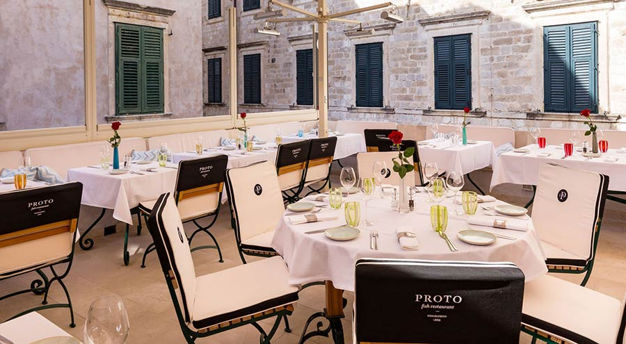 Terrace at the Restaurant Proto in Dubrovnik