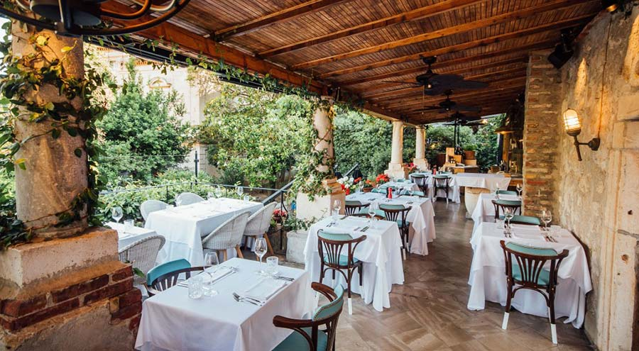 Terrace at the restaurant Sesame in Dubrovnik