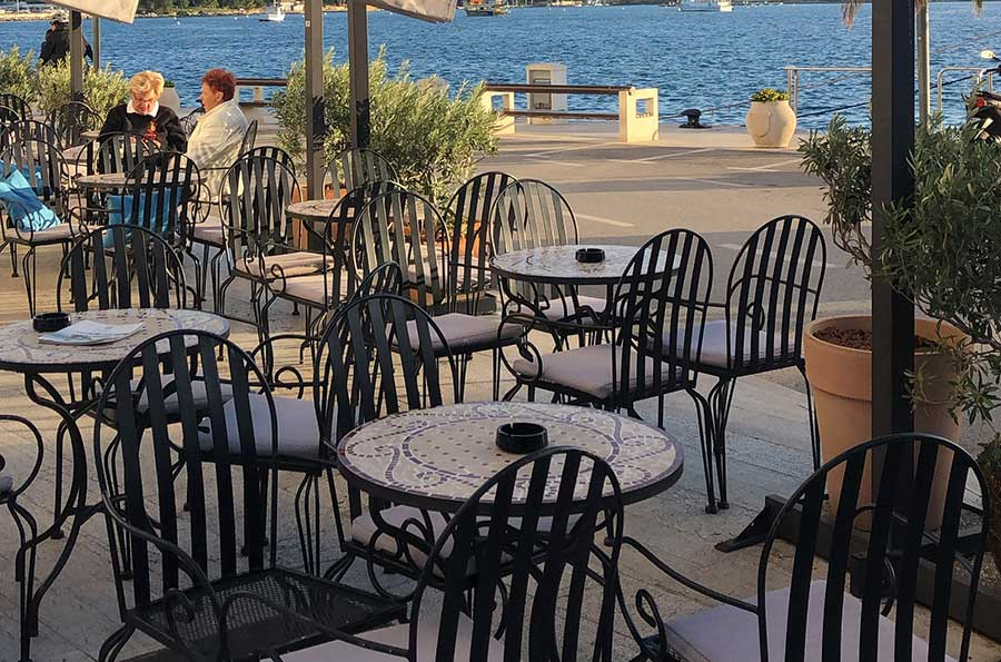 Terrace at the Epoca Bar in Porec