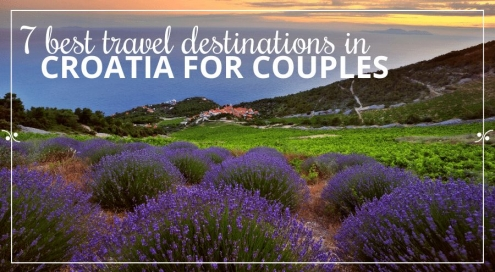 Lavender fields on the island of Hvar, sea