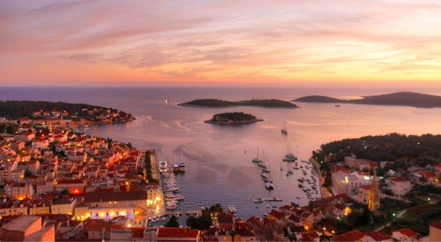Sunset over Hvar Town from Spanjola Fortress