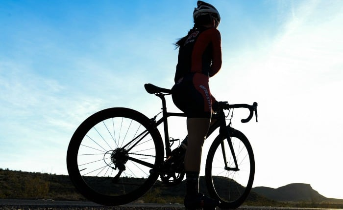 A female cyclist silhouette