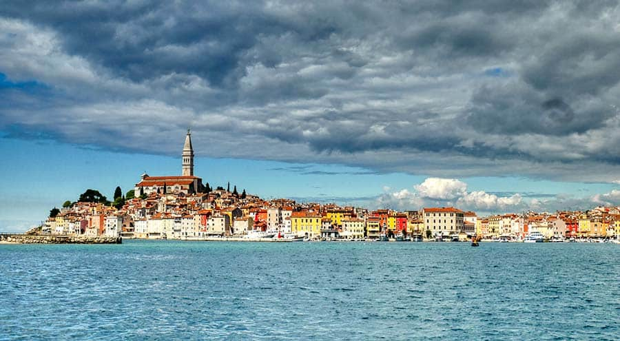 A panorama of Rovinj from the sea