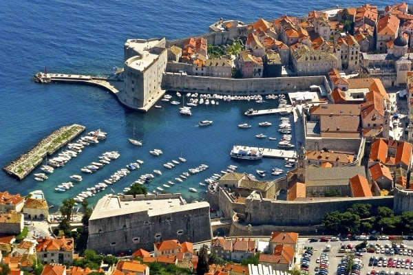 Airview of Dubrovnik's harbor