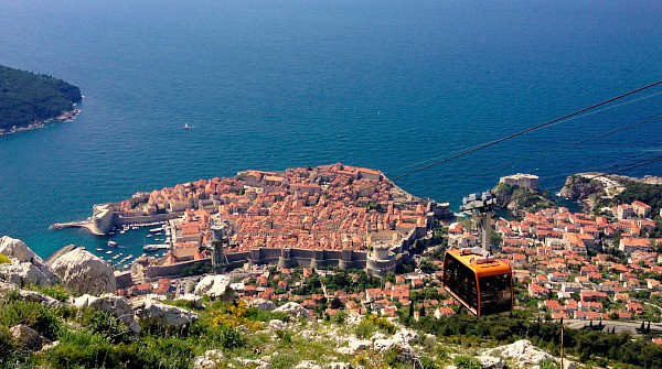 Dubrovnik old town and the cable car from the mount Srd