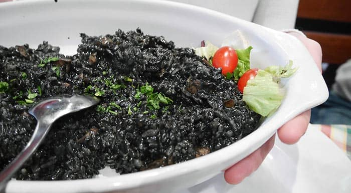 Black risotto, a typical Croatian dish