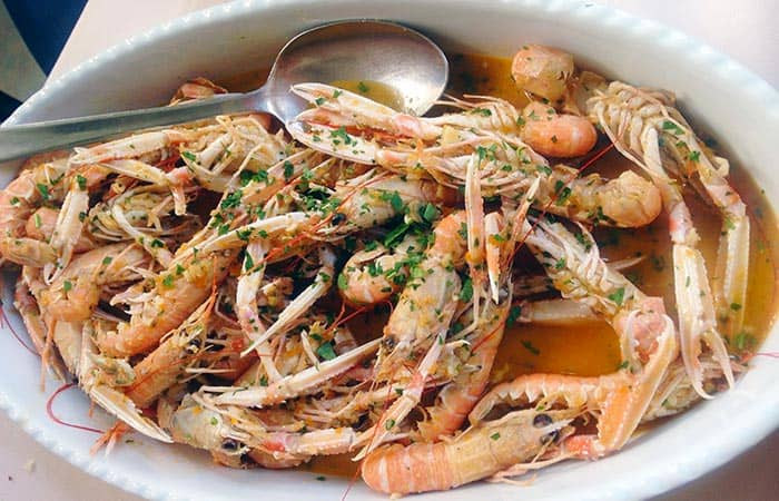 A plate of scampi na buzaru, typical food in Croatia