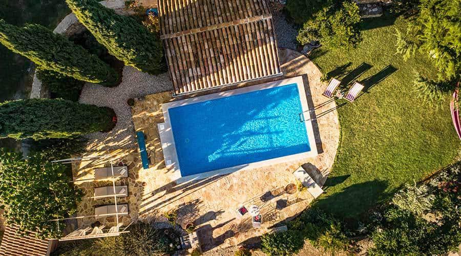 Villa in Istria | Villa Rupeni: Aerial Image of the Swimming Pool