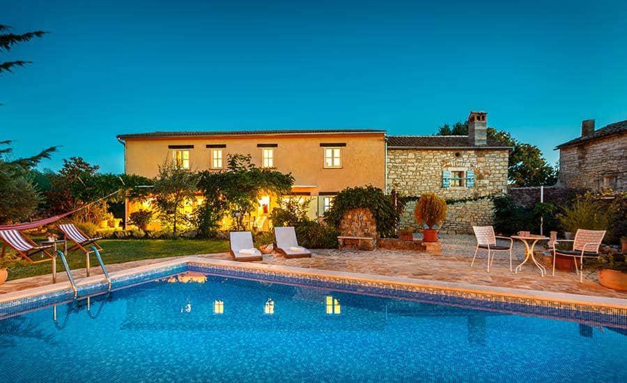 Villa in Istria | Villa Rupeni: Swimming Pool and the House at Dawn