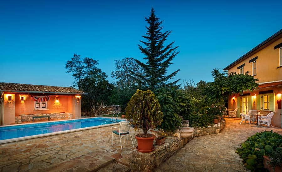 Villa in Istria | Villa Rupeni: Front Yard With Swimming Pool and a Patio