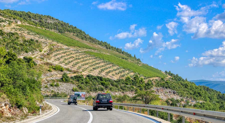 A photo of coastal road D8 on the way from Split to Dubrovnik
