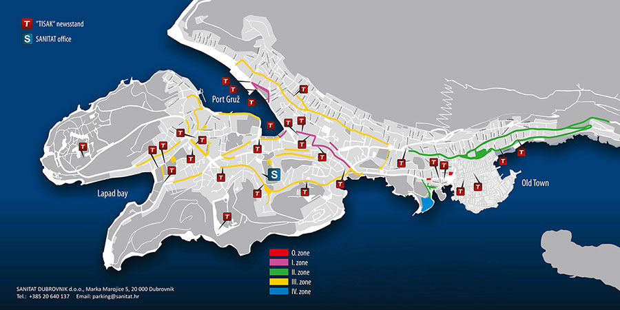 A map with parking zones in Dubrovnik