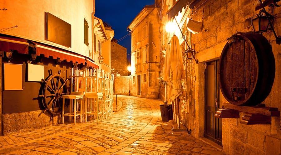 Porec Old Town at night