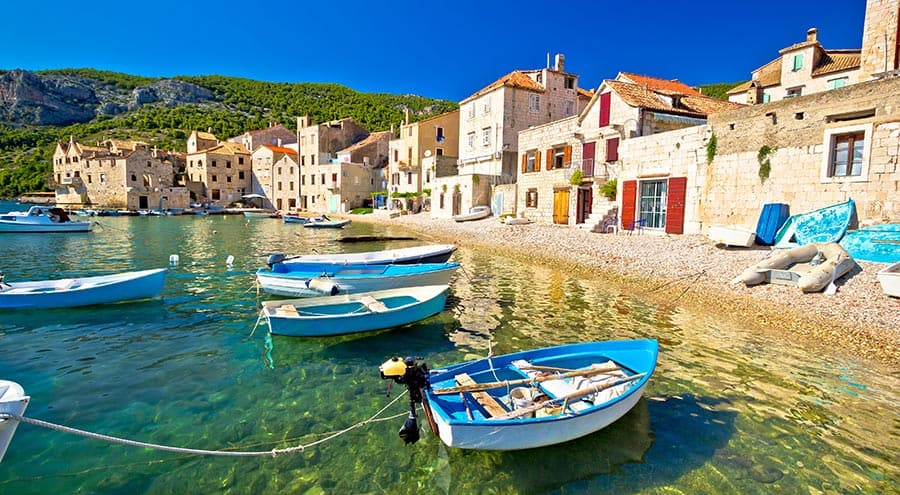 Sea, boats and houses in Komiza, Vis