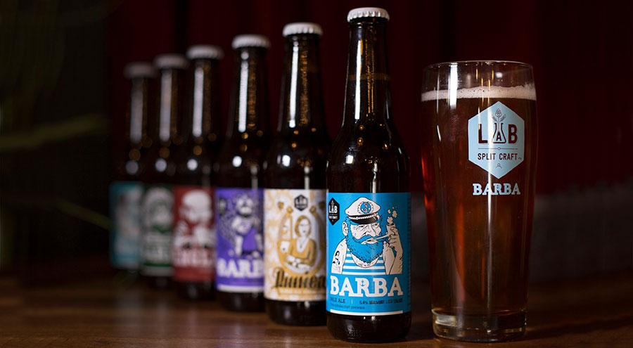 Bottles of Barba craft beer, LAB Brewery, Split Croatia