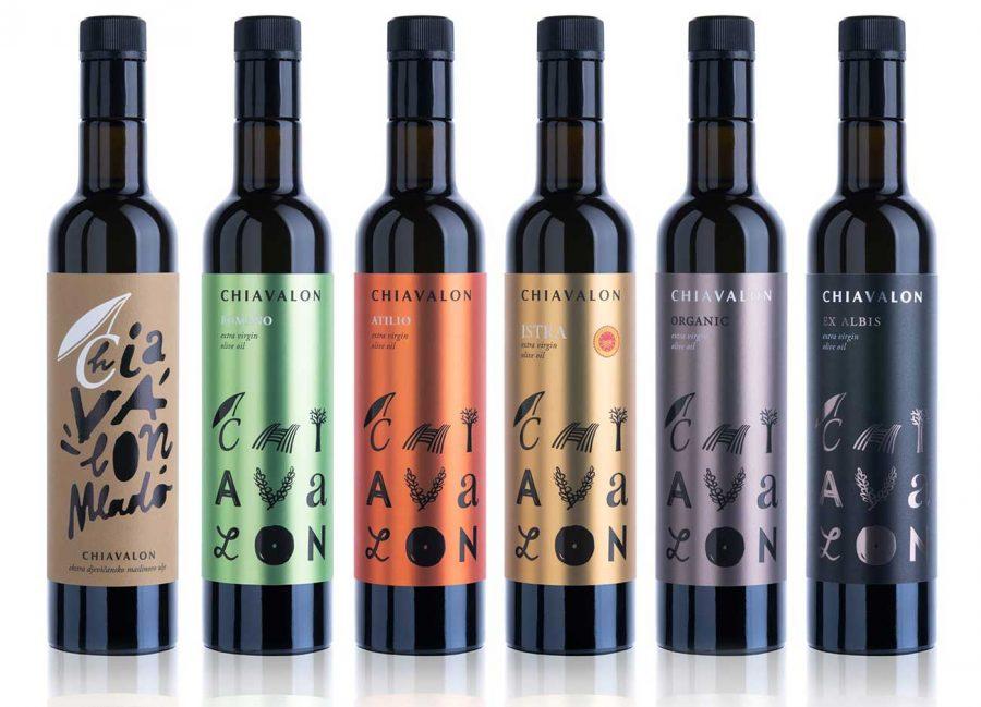 Bottles of Chiavalon olive oils, full product range