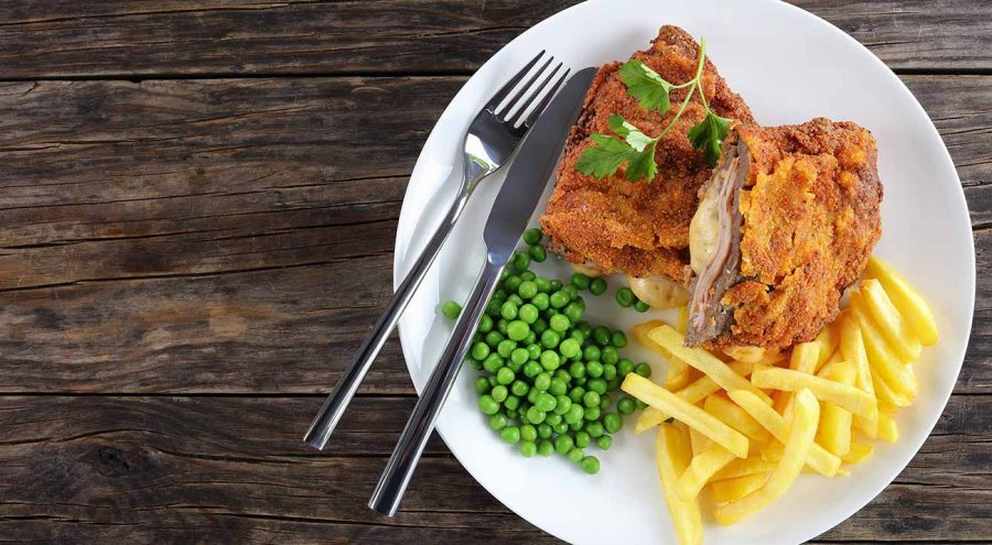 Zagreb Escalope, a breaded veal meat stuffed with ham and cheese