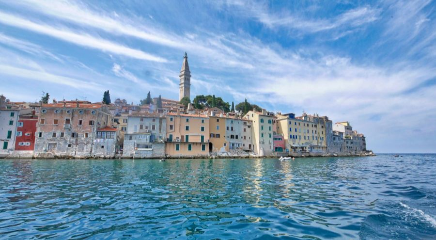 A panorama of Rovinj taken from the sea