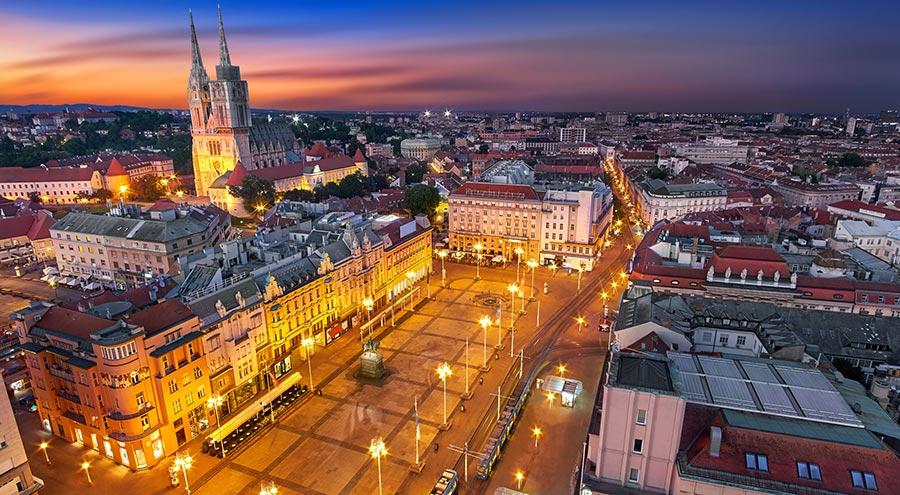 Ban Jelacic Square, Zagreb, Air view